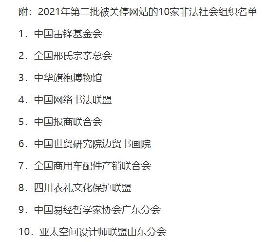 两部门:依法关停2021年第二批10家非法社会组织网站