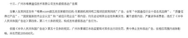 广州唯康通信技术被罚20.5万元 宣传广告存虚假内容且严重误导消费者