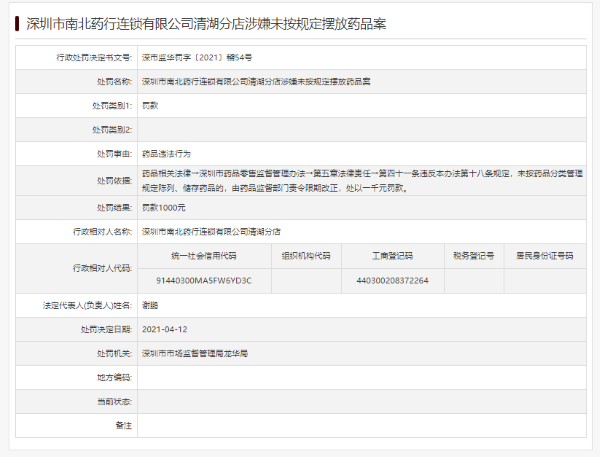 """深圳市南北药行连锁公司2家分店因""""药品违法""""被罚"""