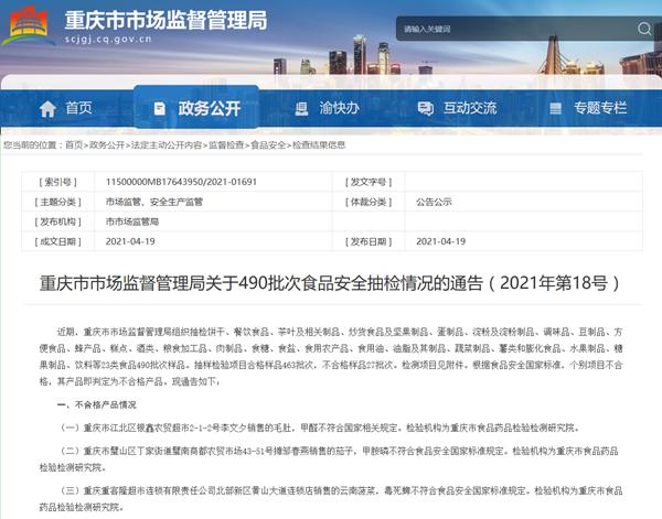 重庆通报27批次食品不合格 永辉超市、罗森便利店等有售
