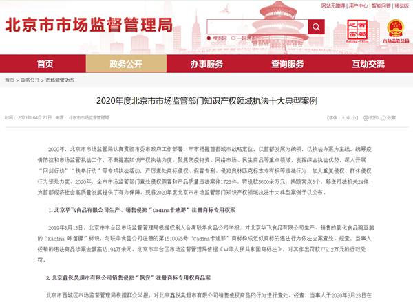 北京知识产权领域执法十大典型案例公布 北京华飞食品有限公司在榜