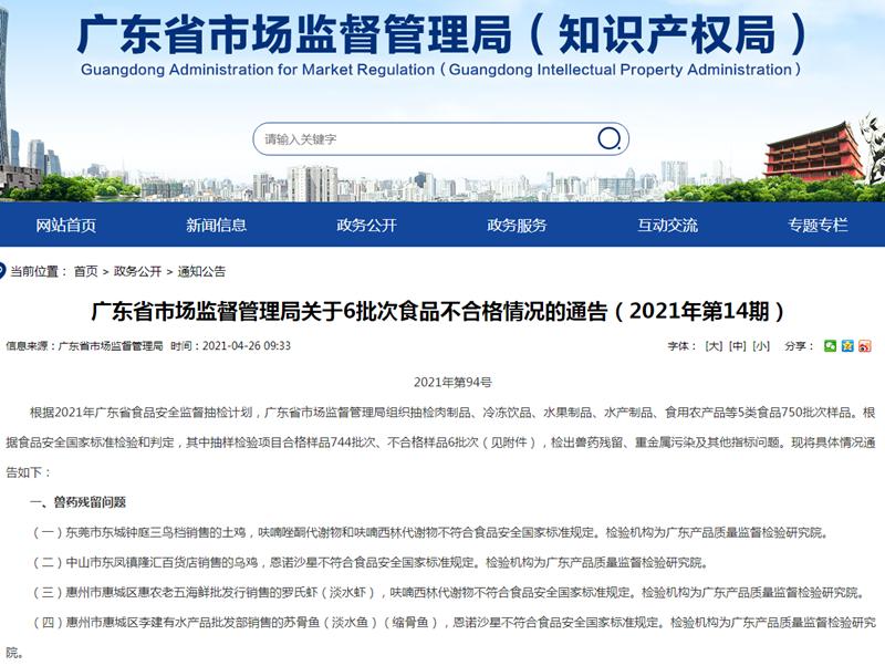 广东6批次食品样品抽检不合格 存兽药残留、重金属污染等问题