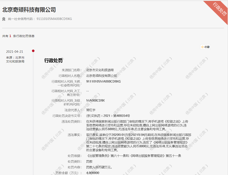 奇顽科技遭罚4万元 未经批准擅自上网出版网络游戏