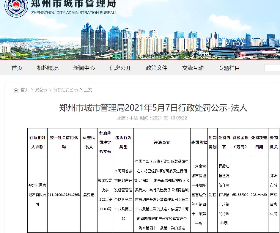"""郑州元通房地产公司因销售已抵押房遭罚款65万余元 企业多次被""""限高"""""""
