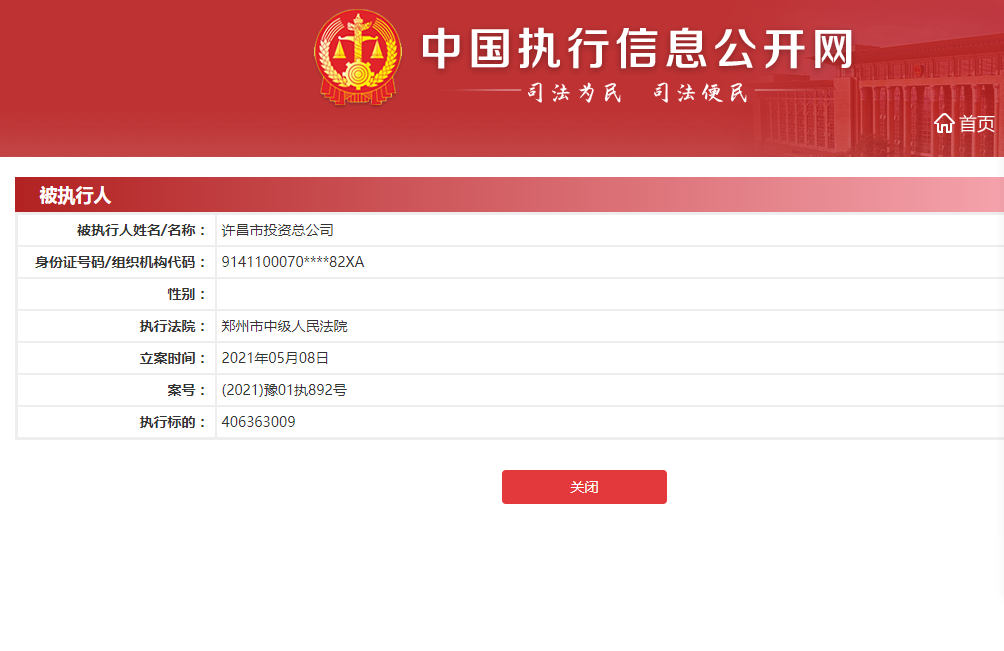 许昌市投资总公司成被执行人 执行标的超四亿