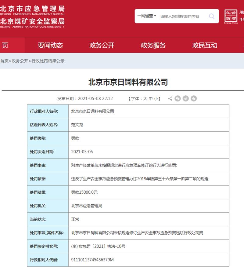 京日饲料遭罚款1.5万元 未按规定修订生产安全事故应急预案