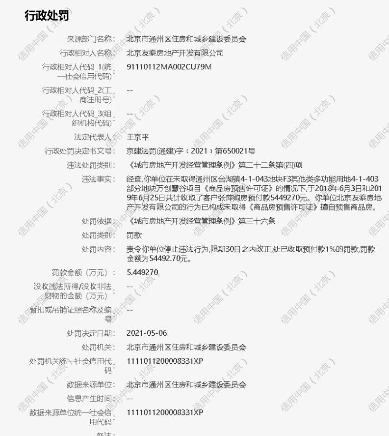 北京友泰房地产公司遭罚5.4万 未取得预售证擅自销售商品房