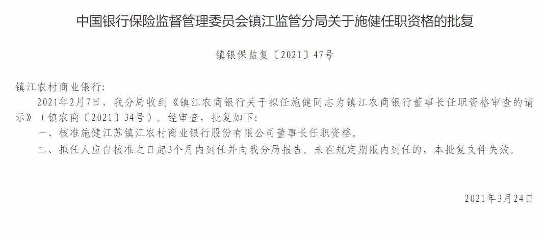 注意!镇江农商银行董事长施健任职资格获批 拟任行长戴新铭任职资格被终止审查