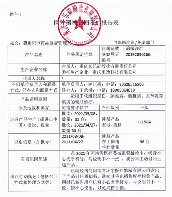 """公告!重庆长乐硅酸盐有限责任公司主动召回""""红外线治疗器"""""""