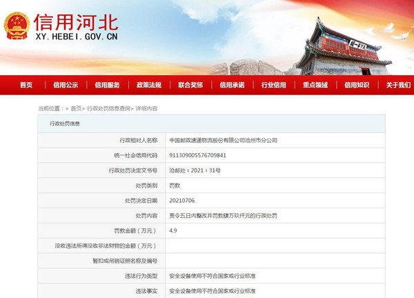 曝光!中国邮政速递物流沧州分公司被罚4.9万元 安全设备使用不符合标准