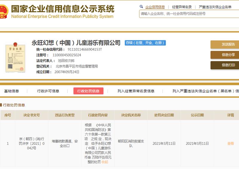 永旺幻想(中国)旗下一分公司被罚8000元 未建立生产安全事故隐患排查制度