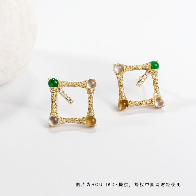 BAMBOO竹节款18K古法金翡翠满钻耳饰产品图