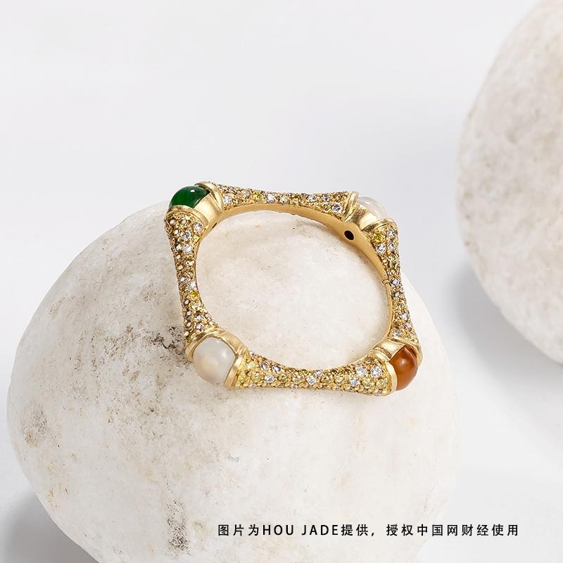 BAMBOO竹节款18K古法金翡翠满钻戒指产品图