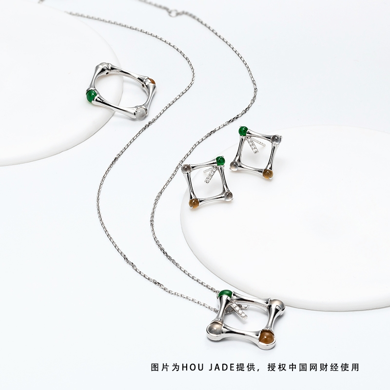 BAMBOO竹节款18K白金翡翠镶钻项链、耳饰、戒指产品图
