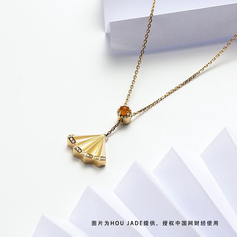 FOLDING FAN折扇款18K金翡翠钻石颈链产品图