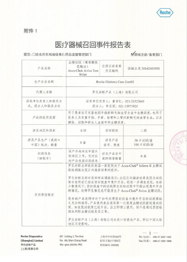 公告!罗氏诊断(上海)公司主动召回血糖试纸(葡萄糖脱氢酶法)