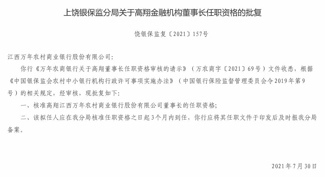 江西万年农商银行董事长高翔、行长周丽军任职资格获批