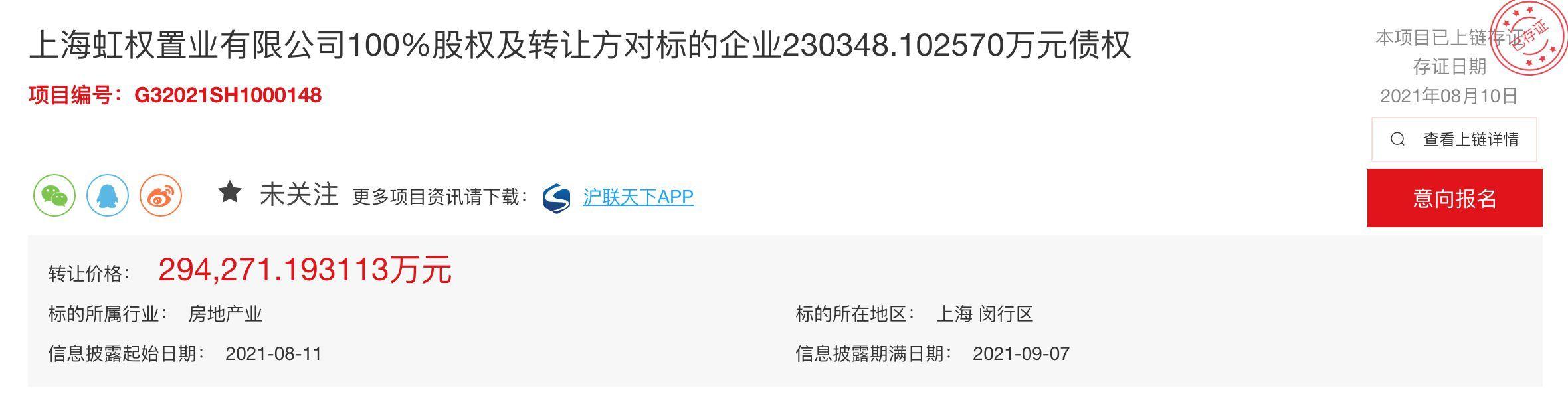 上海地产挂牌转让虹权置业股权及债权 底价29.43亿元