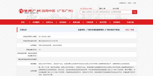 """广州艾沫尔医疗美容诊所""""从非法渠道购药"""" 遭罚款10万元"""