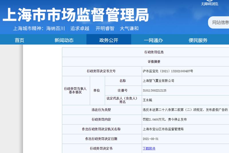 """""""智飞置业发布虚假广告被罚款超2万 为中集产城旗下公司"""