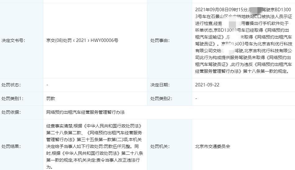 北京吉利优行公司违法被罚 为曹操出行运营方子公司