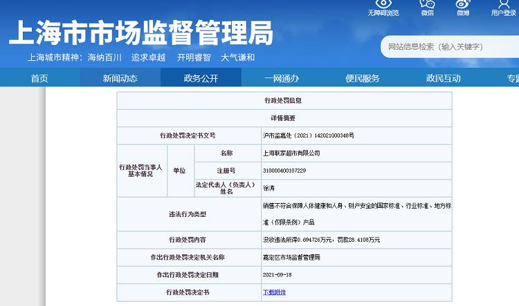上海联家超市因销售不合格口罩被罚款28.4108万元