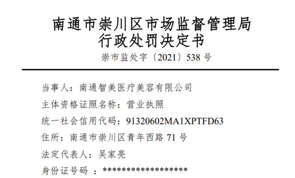 """南通智美医疗美容遭罚款18万元 使用""""未取得药品批准证明文件""""九价HPV疫苗"""