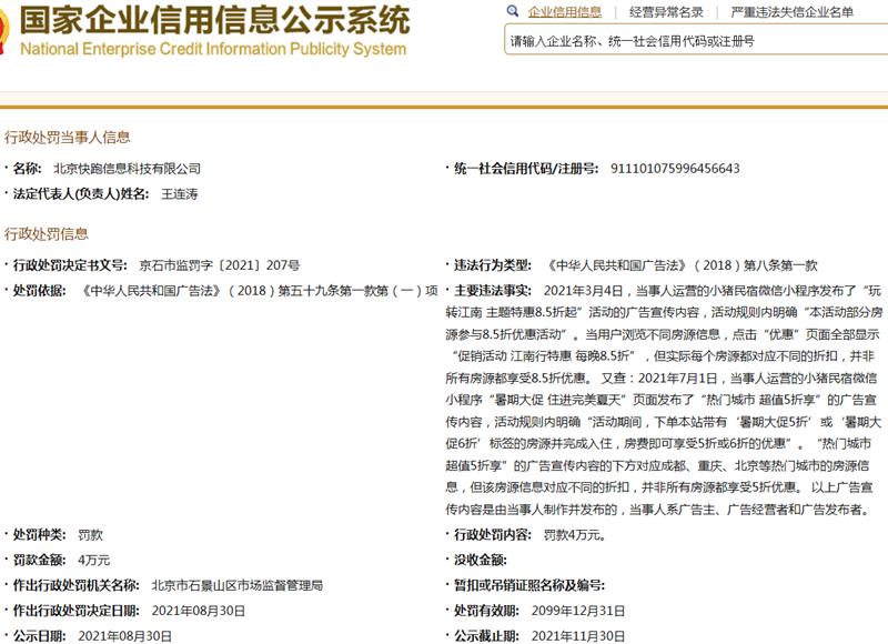曝光!小猪民宿关联公司因虚假折扣被罚款4万元