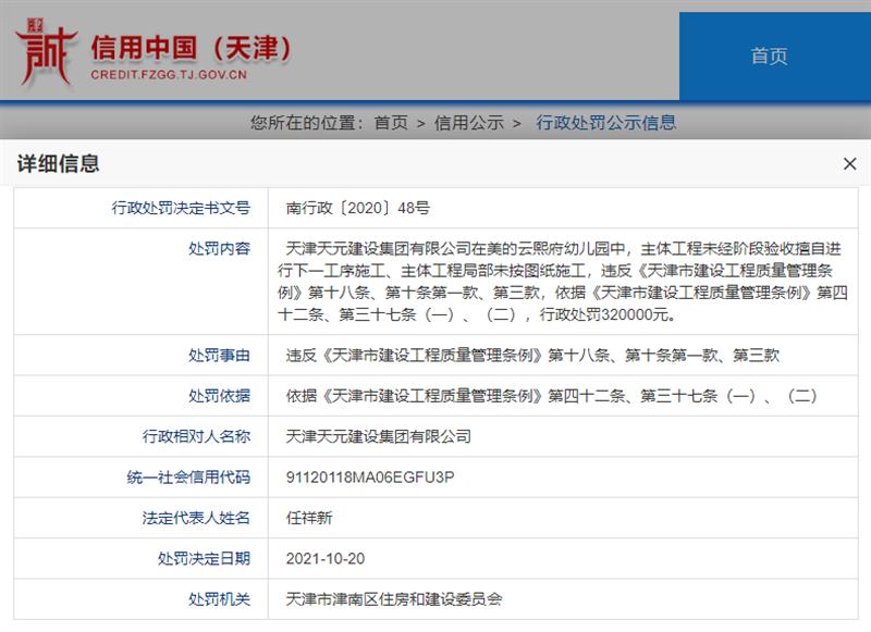 天元建设集团有限公司天津分公司违规施工被罚款32万元