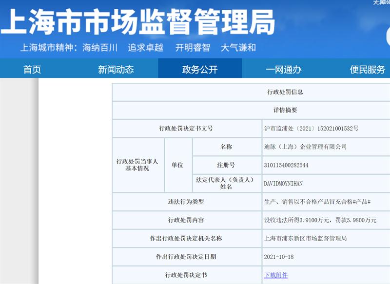 迪卡侬以次充好被上海市场监管罚没近10万元