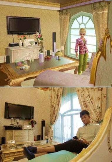 <p>  图为该土豪玩家晒出的自己的别墅与游戏中别墅的对比照。</p>