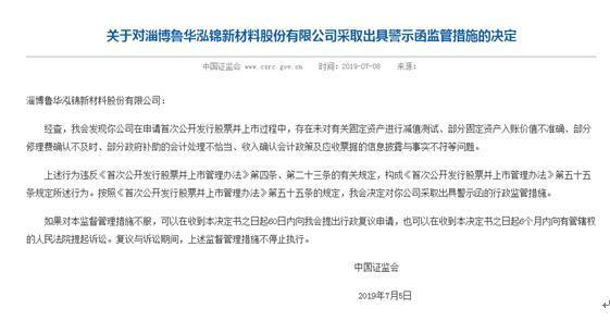 鲁华泓锦因IPO虚假信披等六大问题收证监会警示函 瑞信方正保荐