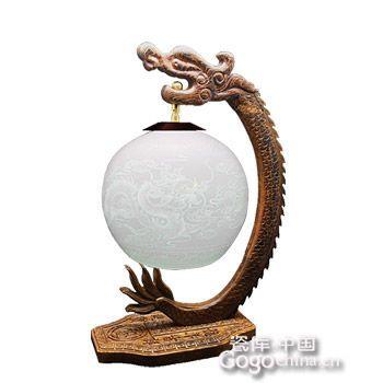 景德镇玉堂春全手工雕刻双龙戏珠陶瓷艺术灯饰