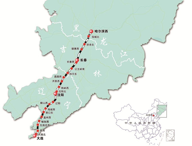 哈尔滨至大连高速铁路示意图