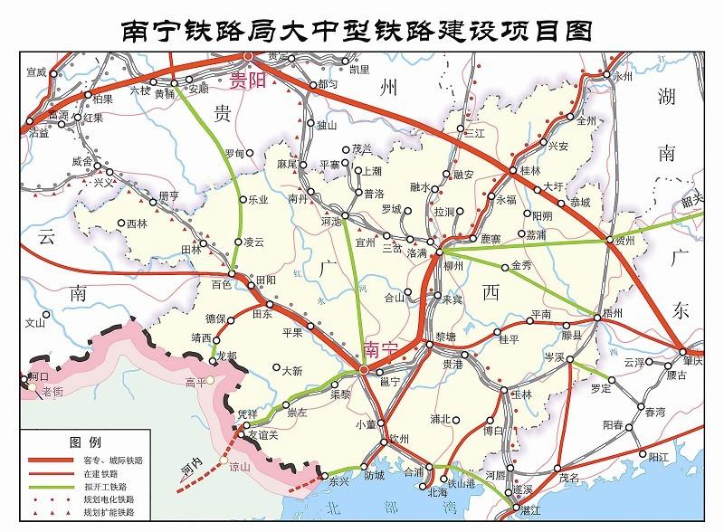 铁路建设; 铁路强音唱响八桂大地; 南宁铁路线路图_广西南宁高铁线路