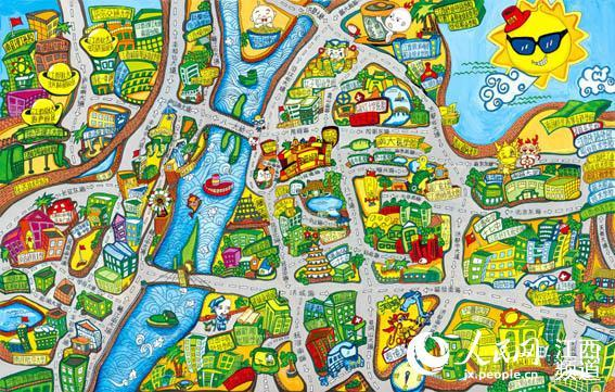 不少网友表示,这样的手绘地图简直萌呆了,如同住在童话世界里一般.