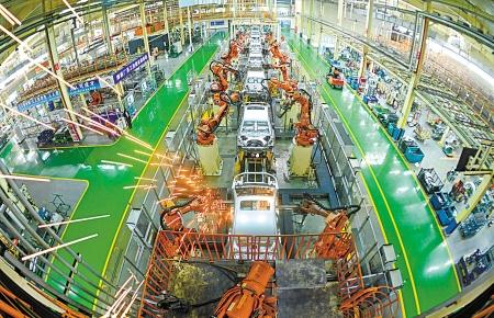 图为吉利汽车杭州湾基地生产线.(徐能 摄)-投资 为经济发展积蓄动高清图片