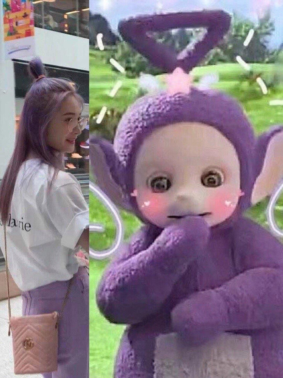 周洁琼紫色头发 粉丝:天线宝宝?图片